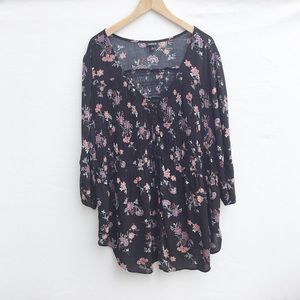 Torrid black floral 3/4 sleeve V-neck blouse.